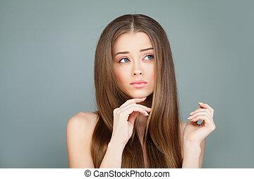 美しい, ファッション, 彼女, 美しさ, 手。, 構造, 若い 女の子, ジェスチャー, advertisement., 女の子, woman., 皮膚, エステ, セクシー, 提示, 心配