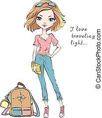 美しい, ファッション, 旅行, ベクトル, 世界, 女の子