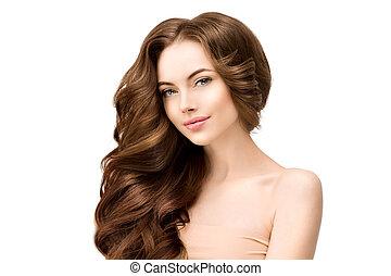 美しい, ファッション, 皮膚, 若い, hair., 肖像画, 女の子, concept., 隔離された, 長い間, 待遇, 美容術, 女, 美しさ, 波状, white., 美顔術, 心配, spa., 光沢がある, ゆったりしている, きれいにしなさい, 新たに, モデル, female.