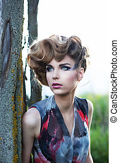 美しい, ファッション, 美しさ, 自然, 若い, 顔, 女性, 新たに, outdoors., sensual