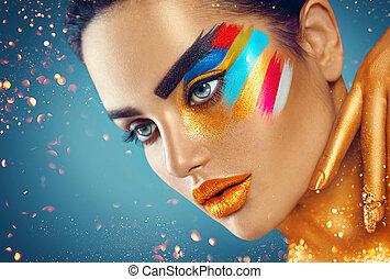 美しい, ファッション, 芸術, カラフルである, 美しさ, 抽象的, 構造, 女性の 肖像画