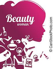 美しい, ファッション, 買い物, アイコン, silhouette., 女, セット