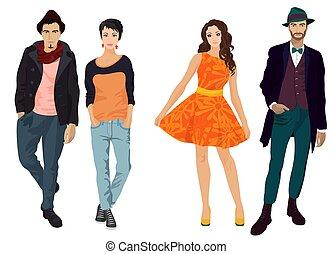 美しい, ファッション, isolated., 女の子, 若い, ハンサム, 人, ふだん着