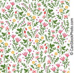 美しい, フィールド, パターン, seamless, いちご, 花