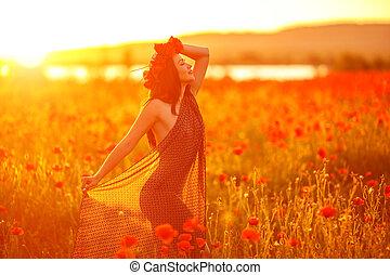 美しい, フィールド, 女, 日没, ケシ