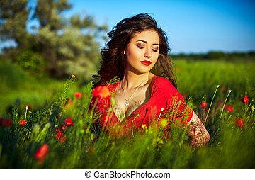 美しい, フィールド, 花, 女, ケシ