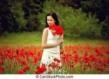 美しい, フィールド, 花, 女