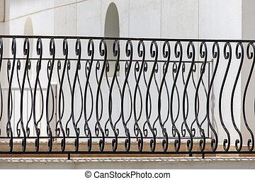 。, 美しい, フェンス, フェンス, 金属の鋳造物, 装飾用である, 黒, 芸術的, 鉄, 偽造すること, 終わり, 細工された