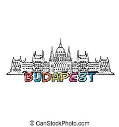 美しい, ブダペスト, sketched, アイコン