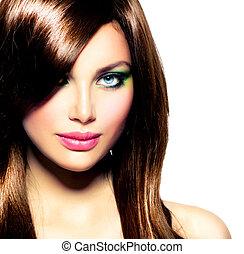 美しい, ブラウン, ブルネット, 健康, 長い髪, girl.