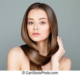 美しい, ブラウン, 大広間, 女, hairstyle., 美しさ, かわいい, 健康, face., 長い髪, 背景, モデル