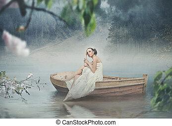 美しい, ブルネット, ロマンチック, 上に, ポーズを取る, 風景