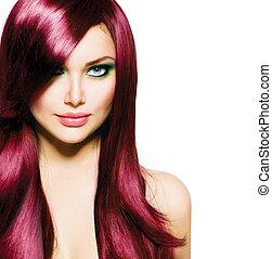美しい, ブルネット, 女の子, ∥で∥, 健康, 長い髪, と青, 目