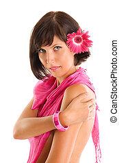 美しい, ブルネット, 女, ∥で∥, ピンクの花