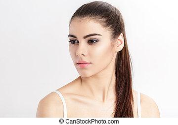 美しい, ブルネット, 自然, 若い, makeup., 女, きれいにしなさい, 皮膚, 肖像画, 女の子