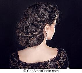 美しい, ブルネット, hairstyle., 巻き毛, girl., 波状, hair.