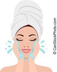 美しい, プロセス, 女, 洗っている顔