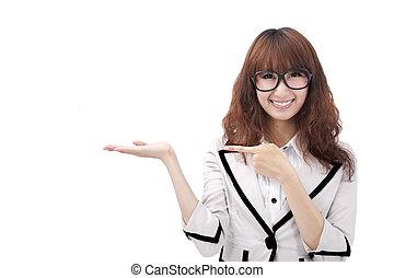 美しい, プロダクト, 女性ビジネス, 若い, 提出すること, あなたの, アジア人