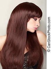 美しい, プロフィール, の, 女性の表面, ∥で∥, 素晴らしい, 長い髪