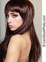 美しい, プロフィール, の, 女性の表面, ∥で∥, 長い間, 健康, 毛