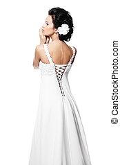 美しい, ヘアスタイル, ブルネット, 構造, 隔離された, 背中, 毛, 花嫁, 明るい, 花, 結婚式, セクシー, 女の子, 服, 白, 幸せ