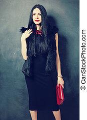 美しい, ヘアスタイル, 女, ファッション, 構造