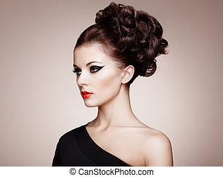 美しい, ヘアスタイル, 女, 優雅である, 肖像画, sensual