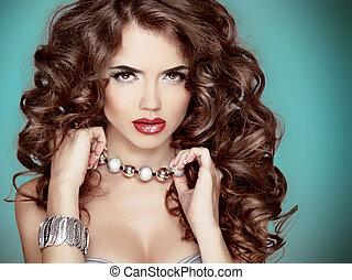 美しい, ヘアスタイル, 女, 巻き毛, 美しさ, 長い間, 魅力, ブルネット, portrait., hair., ...
