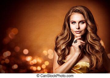 美しい, ヘアスタイル, 女, 美しさ, 長い間, 波状 毛, 肖像画, ファッション