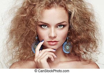 美しい, ヘアスタイル, 女, 若い, 優雅である, ファッション, 肖像画