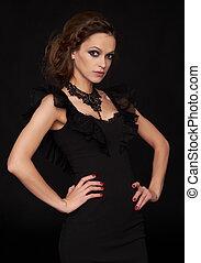 美しい, ヘアスタイル, 女, 黒, きれいなドレス