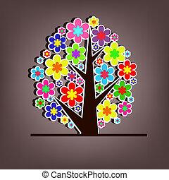 美しい, ベクトル, 木, ∥で∥, 花