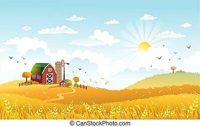 美しい ベクトル 風景 イラスト Farm 牧草地 よい Lable フィールド ステッカー 日当たりが良い 現場 農場 Morning 牛 田園 選択 ロゴ 紋章