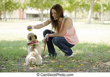 美しい, ペット, 犬, 彼女, 恋人