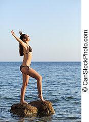 美しい ボディ, 女, フルである, 呼吸, 浜