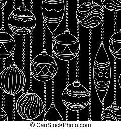 美しい, ボール, パターン, 黒, 白い クリスマス, モノクローム