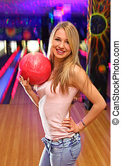 美しい, ボール, 立つ, クラブ, もつ, 手, ボウリング, 女の子, 赤, 幸せ