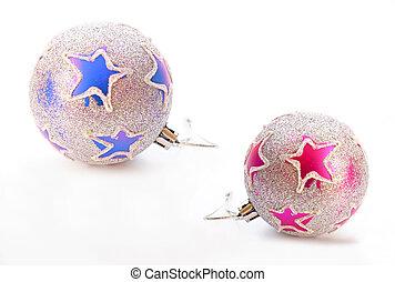 美しい, ボール, 装飾, 隔離された, 背景, 白, きらめき, クリスマス