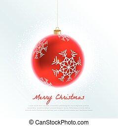 美しい, ボール, 雪片, 装飾, クリスマス, 赤