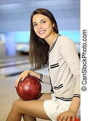 美しい, ボール, club;, 浅い, フィールド, 深さ, ボウリング, 女の子, 座る, 手掛かり, 赤