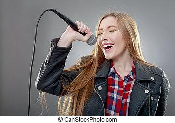美しい, マイクロフォン, 女, 歌うこと, ブロンド