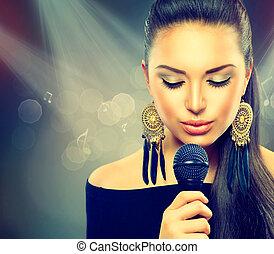 美しい, マイクロフォン, 女, 美しさ, girl., 歌うこと
