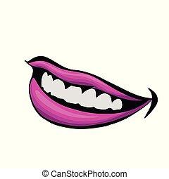 美しい, マット, 女, 口紅, 紫色, の上, イラスト, 唇, 終わり, .vector, 光景