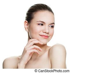 美しい, モデル, 女, 彼女, 健康, 手。, 美しさ, 若い, 隔離された, バックグラウンド。, 待遇, 感動的である, 美容術, 美顔術, 皮膚, エステ, 微笑の 表面, 白, 心配
