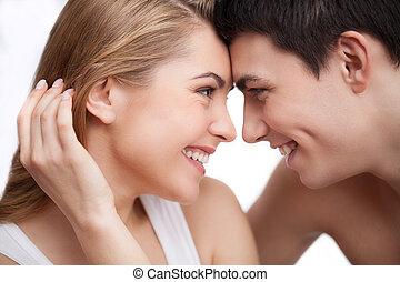 美しい, モデル, 恋人, カップル。, 他, それぞれ, 終わり, 微笑, 情事