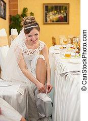 美しい, &, モデル, 花嫁, ポーズを取る, レセプション, 結婚式, ブロンド