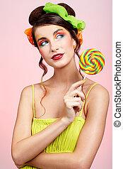 美しい, モデル, lollipop