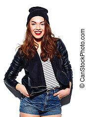 美しい, モデル, look.glamor, ファッション, beanie, 若い, 高く, 布, 唇, 女, 黒, 流行, 微笑, 偶然, 赤, 幸せ