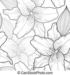 美しい, ユリ, 白黒, hand-drawn., seamless, 背景