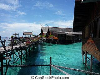 美しい, リゾート, troipcal, sabah, マレーシア, kapalai